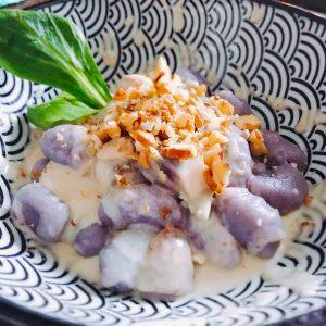 Gnocchi de vitelotte gorgonzola • champignons • noix