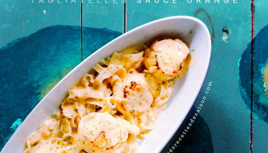 Saint Jacques sur lit de tagliatelles sauce orange