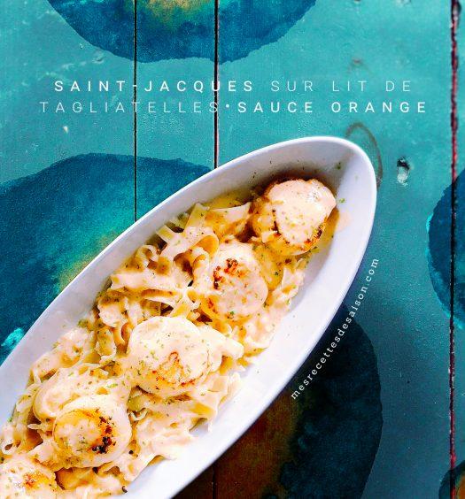Saint Jacques sur lit de tagliatelles fraîches sauce orange