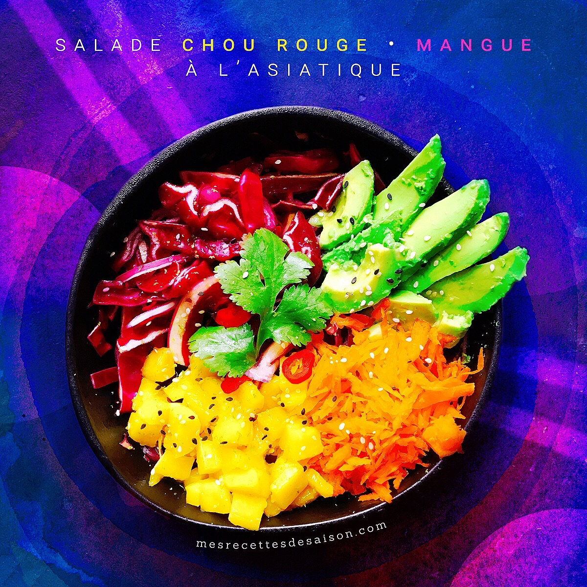 Salade chou rouge • mangue à l'asiatique