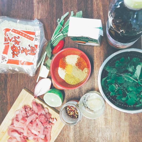 Noodles Porc Coco : les ingrédients