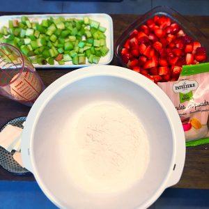 Crumble Fraises / Rhubarbe : les ingrédients