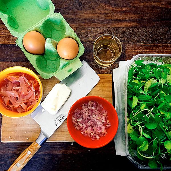 Oeuf poché / Bacon sur Velouté de Cresson : les ingrédients